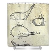 1926 Golf Club Patent Drawing Shower Curtain