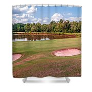 Golf Course Beautiful Landscape On Sunny Day Shower Curtain
