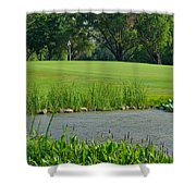 Golf Course Lay Up Shower Curtain by Frozen in Time Fine Art Photography