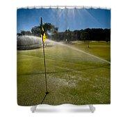 Golf Course Sprinkler On Sunny Day Shower Curtain