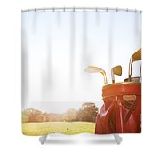 Golf Equipment Professional Clubs On Golf Course Shower Curtain