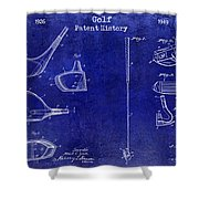 Golf Patent History Drawing Blue Shower Curtain