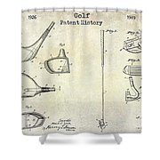 Golf Patent History Drawing Shower Curtain