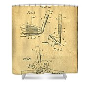 Golf Sand Wedge Patent On Aged Paper Shower Curtain