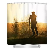 Golfer At Sunset Shower Curtain