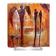 Golgotha Petroglyph Shower Curtain