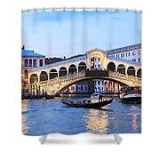 Gondola In Front Of Rialto Bridge At Dusk Venice Italy Shower Curtain