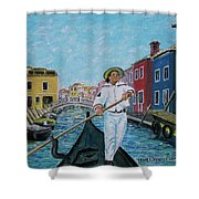 Gondolier At Venice Italy Shower Curtain