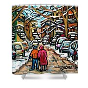 Good Day In January For Winter Stroll Snowy Trees And Cars Verdun Street Scene Painting Montreal Art Shower Curtain