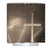 Good Friday In Sepia Shower Curtain