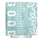 Good Things Blue Shower Curtain