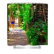 Goodbye Walking Away New Friends New Places To Visit Streets Of Verdun Montreal Art Scenes C Spandau Shower Curtain