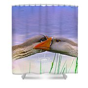 Goose Kiss - Featured In Comfortable Art - Nature Wildlife - Wildlife Groups Shower Curtain