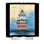 Goose Rocks Lighthouse Me Nautical Chart Peek Art Shower Curtain