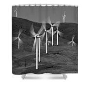 Gorge Windmills B W Shower Curtain