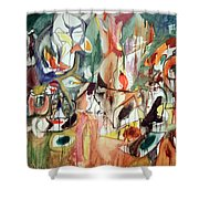 Gorky's One Year The Milkweed Shower Curtain