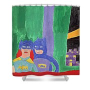 Gotham Heroes  Shower Curtain by Don Larison