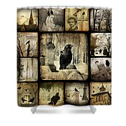 Gothic And Crows Shower Curtain
