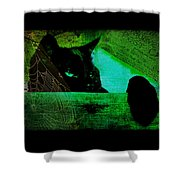 Gothic Black Cat Shower Curtain