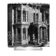 Gothic House Black And White Shower Curtain