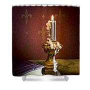 Gothic Scene With Candle And Gilt Edged Books Shower Curtain