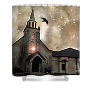 Gothic Surreal Haunted Church And Steeple With Crows And Ravens Flying  Shower Curtain