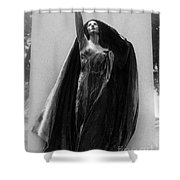 Gothic Surreal Haunting Female Cemetery Mourner Figure Black Caped Woman In Front Of Gravestone Shower Curtain