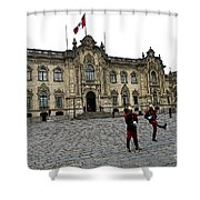Government Palace Guards In Lima Shower Curtain