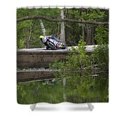 Superbike On Creek Bridge Shower Curtain