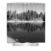 Grace Lake Reflections In Black And White Shower Curtain