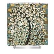 Cherry Blossom Tree- Snow Funtain  Shower Curtain