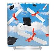 Graduation Caps And Scrolls Shower Curtain by Amanda Elwell