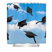 Graduation Mortar Boards Shower Curtain