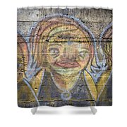 Graffiti Covered Cement Wall Shower Curtain