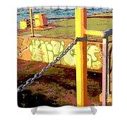 Graffiti Dock Shower Curtain