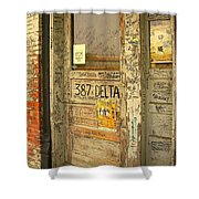 Graffiti Door - Ground Zero Blues Club Ms Delta Shower Curtain
