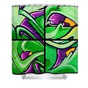 Graffiti In Green Shower Curtain