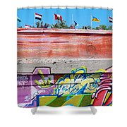 Graffiti With Flags Shower Curtain