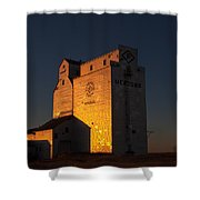 Sunset Grain Elevator At Meadows Shower Curtain by Steve Boyko