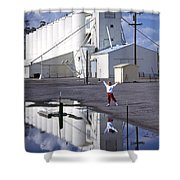 Grain Elevators And Child Shower Curtain