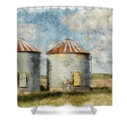 Grain Silos - Digital Paint Shower Curtain