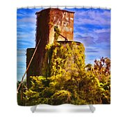 Grain Silos With Digital Painted Effect Shower Curtain