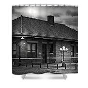 Train Depot At Night - Noir Shower Curtain