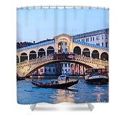 Grand Canal And Rialto Bridge At Dusk - Venice Shower Curtain