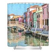 Grand Canal Burano  Venice Shower Curtain