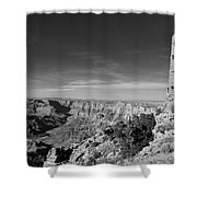 Grand Canyon National Park Mary Colter Designed Desert View Watchtower Near Sunset Black And White Shower Curtain