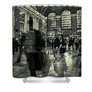 Grand Central Abstract In Black And White Shower Curtain