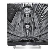 Grand Central Corridor Bw Shower Curtain