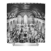Grand Central Terminal Birds Eye View Bw Shower Curtain