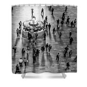 Grand Central Terminal Clock Birds Eye View II Bw Shower Curtain